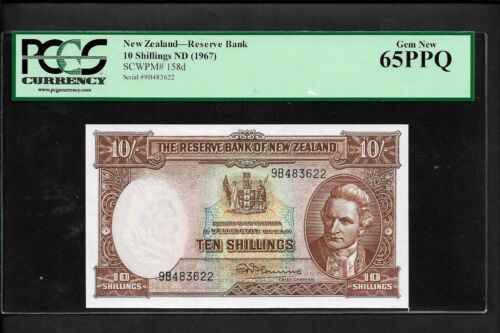 New Zealand p-158d, UNC, 10 Shillings, 1967, PCGS Graded 65 EPQ