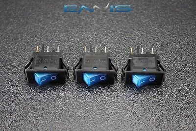 3 Pcs Rocker Switch On Off Mini Toggle Blue Led 12v 16 Amp Mount Hole Ec-1220bl
