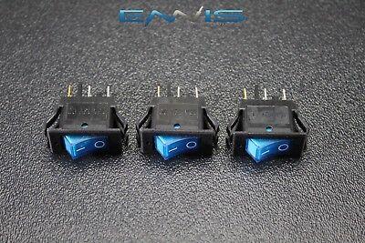 3 Pcs Rocker Switch On Off Mini Toggle Blue Led 12v 16 Amp Mount Hole Ec-1220bl