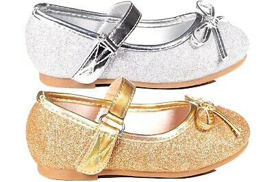 Girls Toddlers formal party glitter sparkly mary jane shoes  silver,gold 5-12 (Girls Gold Party Shoes)