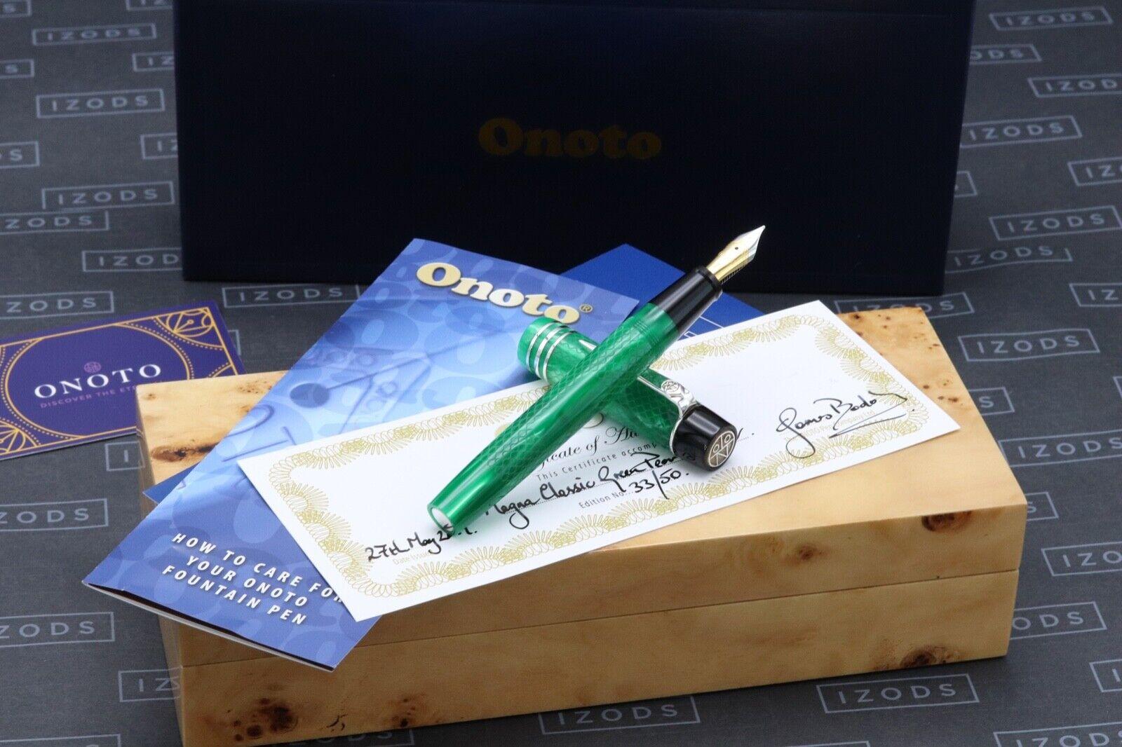 Onoto Magna Classic Green Pearl Silver Fountain Pen