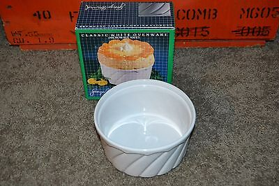 RARE George Briard Classic White 1 Quart Souffle Made in Portugal NEVER USED   1 Quart Souffle