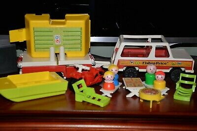 Vtg Fisher Price Little People Play Family Car/Pop-up Camper #992 Complete (A)