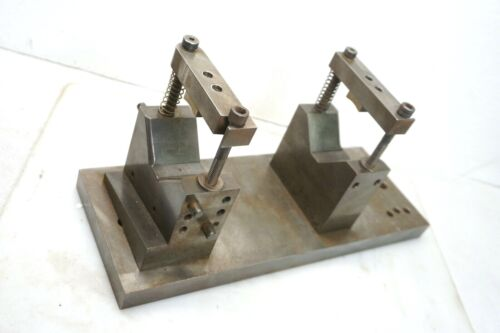 One Set of  2 MOUNTED MACHINIST V BLOCKS & CLAMPS