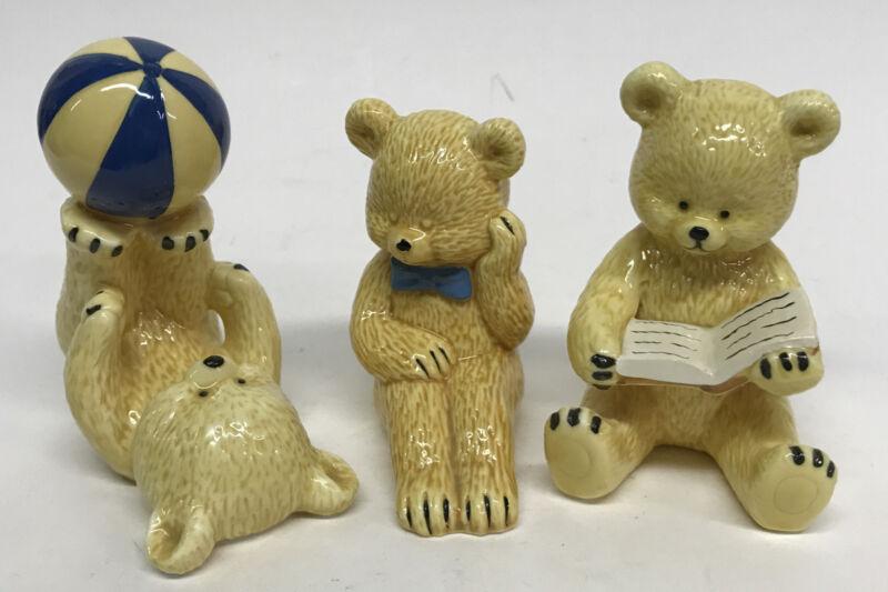 Set Of 3 Small Ceramic Teddy Bear Figurines Nursery Childs Decor