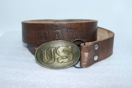 "1970's US Civil War Design Bergamot Brass Belt Buckle and 44"" Leather Belt"