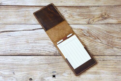 Premium leather golf scorecard holder cover custom leather yardage book cover