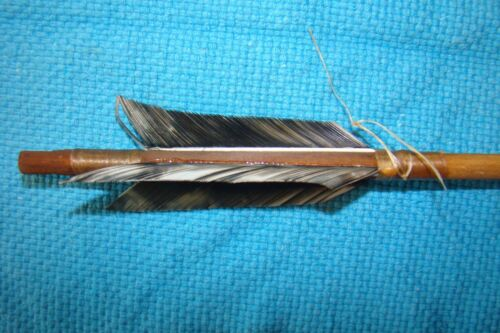 1 Handmade Navajo 25 Inch Arrow w/grey mix feathers & Stone chipped Arrowhead!!