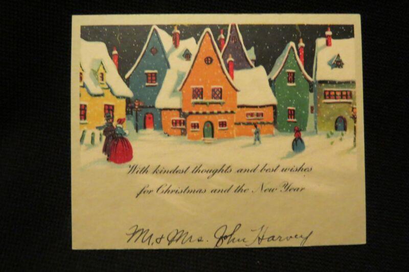 Vintage Art Deco English Village Christmas Card 1920