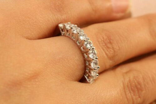 14k White Gold Finish Diamond Half Eternity Band Stackable Ring Endless Wedding
