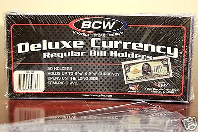 100 BCW Semi Rigid Currency Regular Holder Sleeve Banknote Bill Deluxe Case