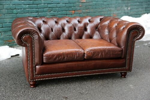 Vintage Loveseat Chesterfield Sofa Brown tufted couch Cigar Lounge Bar Office