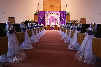 Purple Wedding decorations, Chair Bows, Pew Bows, Satin, Church Aisle Decor. - Wedding Aisle Decor