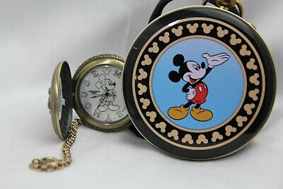 DISNEY MICKEY MOUSE ANTIQUED LIGHT UP GLOWING DIAL VERICHRON POCKET WATCH