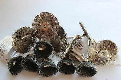 """12pcs Steel Wire Brush Cup 1"""" and Wheel 1.5"""" Fits Dremel for Cleaning Removal on Rummage"""