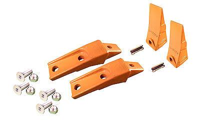 2- Bobcat Style Skid Steer Bucket Teeth W Bolt On Shanks Pins Hardware