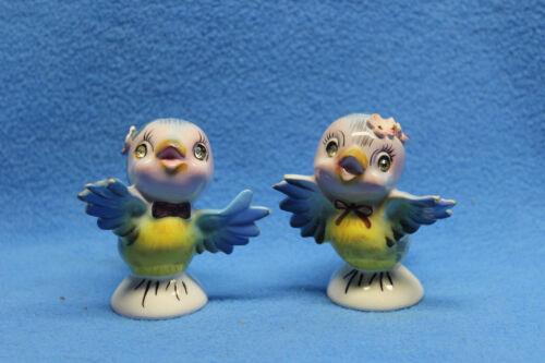Vintage 1950's Lefton Bluebird Salt & Pepper Shakers   #239 w/ rhinestone eyes