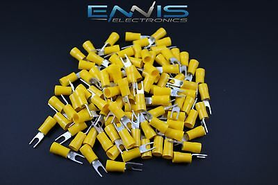 10-12 Gauge Vinyl Spade 8 Connector 100 Pk Yellow Crimp Terminal Awg Car Suv