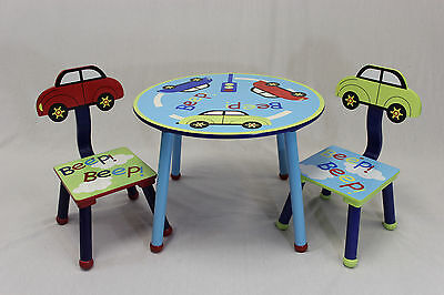 eHemco Kids Table and 2 Chairs Set with Cars Theme