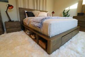Solid Storage Timber Bed Frame (Queen/King) - NEW