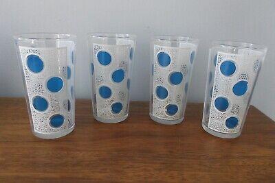 Polka Dot Drinking Glasses (*4* VTG RETRO BLUE POLKA DOT DRINKING GLASSES TUMBLERS W/WHITE FROSTED PANELS)