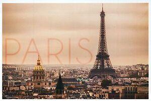 Paris France, City of Lights Aerial View & Eiffel Tower, Europe, Modern Postcard
