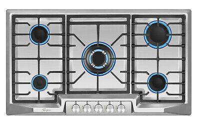 """Empava 36"""" Gas Cooktop 5 Burners Built-in Stove Stainless Steel 110V Cooker #881"""