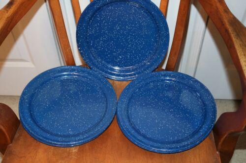 Enamel  camping plate vintage  10 in Blue