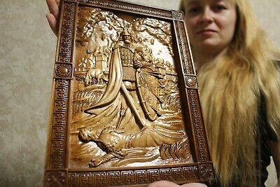 "Epic Wooden Carved wall picture  ""Kolovrat (Коловрат)""  14"" size."