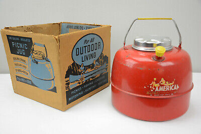 VINTAGE COLUMBIAN ALL-AMERICAN 1 GAL. PORCELAIN LINED HOT/COLD JUG COOLER w/BOX