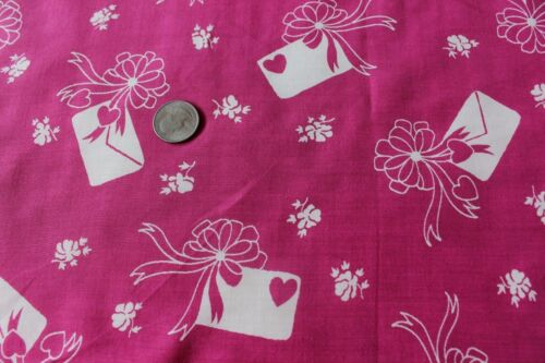 Vintage Hearts, Bows & Love Letter Conversational Design Rayon Fabric Yardage