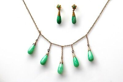 Vintage Natural Apple Green Jadeite Jade Fringe 18K Gold Necklace & 22K Earrings