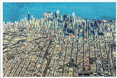Aerial View of Chicago Illinois, Downtown Skyline, Lake Michigan etc. - Postcard