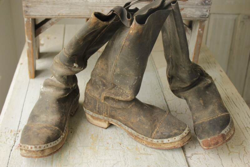 3 matching Antique French leather HOBNAIL WORK BOOTS chore wear 1800