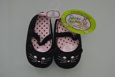 Skimmer 2 Slip - Baby Deer Girls Skimmer with Cat Slip-on, Black, 3 M US Infant NWT