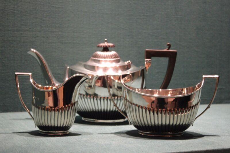 STERLING SILVER ART DECO TEA SET ( TEA, SUGAR, MILK )
