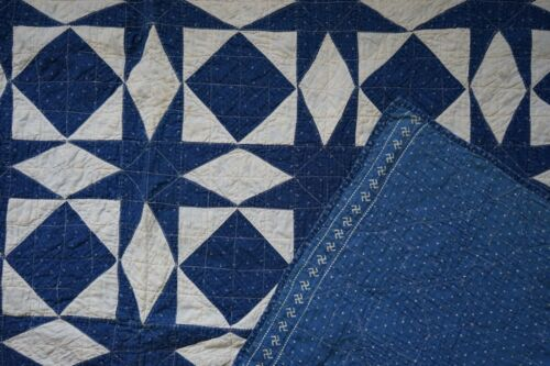 Antique Hand Pieced Indigo Blue and White Crystal Star Quilt, Swawsika c. 1910