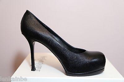 YSL Yves Saint Laurent Tribtoo Grainy Black Pumps Shoes 41.5 11.5 $795