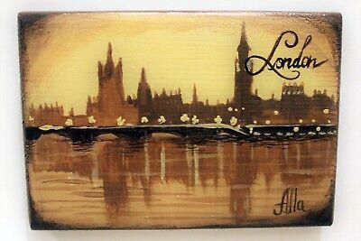 Fine art miniature cityscape acrylic painting on woodenpanel