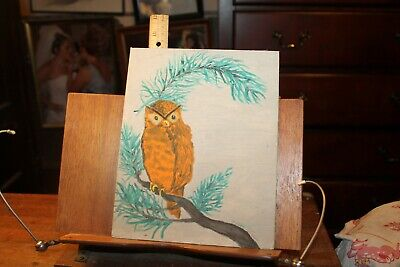 Vintage 1972 Oil Painting on Board OWL 8x10