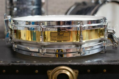 """1980s Pearl 3.5x14"""" Brass Free Floating Snare Drum"""