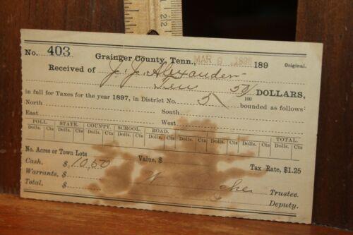 Antique 1898 Grainger County Tenn Poll Tax Receipt