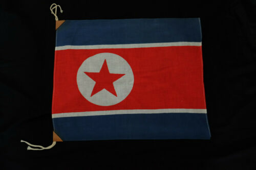 1950s Vintage North Korea Banner Small Cotton Flag