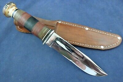 Vintage KA-BAR 471-5 Union Cutlery Co Olean NY stag pommel knife with sheath