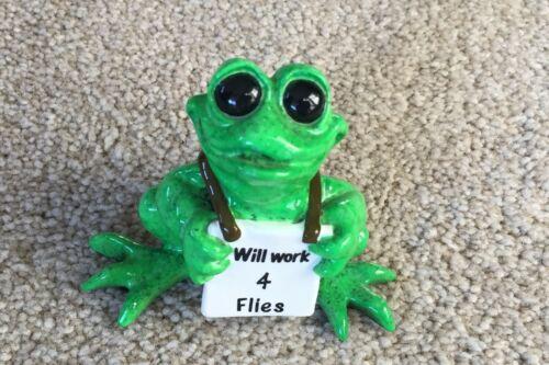 "Kitty's Critters ""Joe"" 2007 Frog Figurine Retired ""Will Work 4 Flies"""