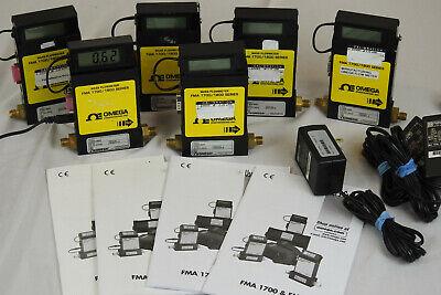 Six Omega Fma1820 Mass Flow Meter 0-10 Lmin Gas N2 17001800 Series Lot Of 6