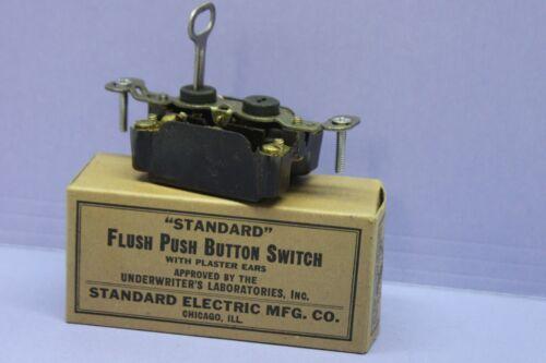 NEW Vintage Standard 3-Way Bakelite Push Button Switch - Keyed Lock - Security