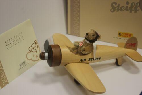 Steiff 2005 Ltd. Edition Teddy Bear w/ Wooden Airplane #038259 in Box w Papers