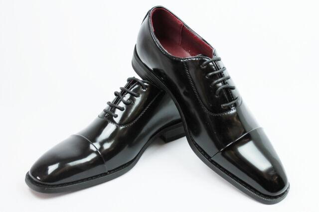 mens black dress tuxedo formal shoes patent leather slip