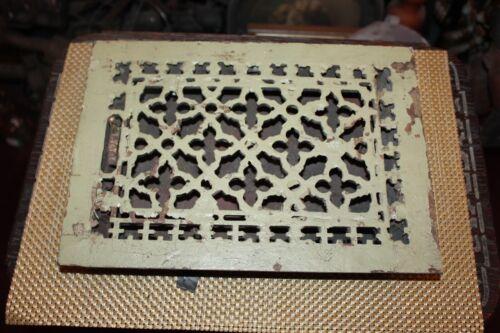 Antique Victorian Register Heating Grate Vent #5 Cast Iron Crosses Rectangular